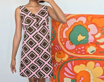 1960's Diamond Print Shirt Dress