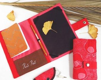 Quilted iPad mini cover, ipad case organizer, embroidered tablet cover,padded iPad pro case,iPad mini portfolio,fabric portfolio , kindle