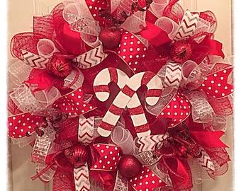 JULYSALE10-Candy Cane Deco Mesh Wreath/Christmas Wreath/Red, Silver and White Christmas Wreath/Candy Cane Wreath/Christmas Candy Cane Wreath