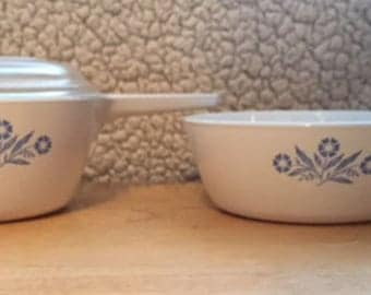 Corning Ware Cornflower Blue - two long handled frying pans - 1 pint and 1 1/2 pint - one lid