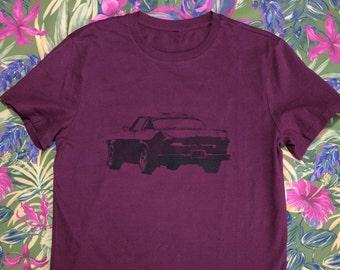 hand stenciled t shirt - Volvo p1800 - black on burgandy, size M