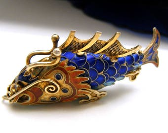 Stunning Top End Vintage Chinese Enamel Articulated Dragon Fish Pendant