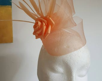 Peach Fascinator Hat with Roses and Feathers for Wedding,Ascot,Proms