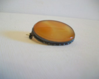 Antique Art Deco 1930s Brooch Pin: agate mounted in solid silver