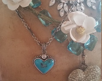 Turquoise Sterling Heart Necklace