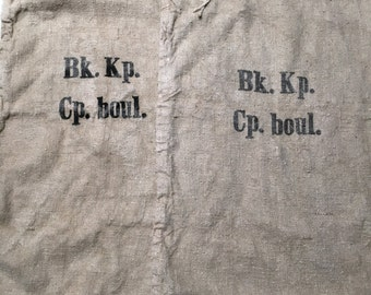 Pair Vintage European Grain Sacks from 1943 in Excellent Condition (X4277)