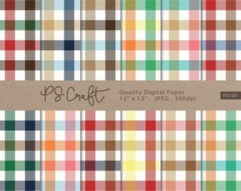 3-Colors Plaid Digital Papers, SEAMLESS Gingham Digital Background, Plaid Digital Scrapbook Paper, Instant Download