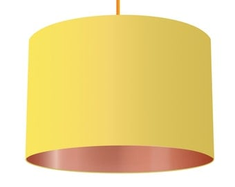Yellow Linen Fabric Drum Lampshade With Metallic Copper Effect Lining, Small Lampshade 20cm - Large Lampshade 40cm or Custom Order
