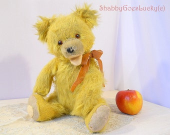 Vintage teddy bear, 1950s yellow mohair teddy baby, restored, with open mouth, very cute shabby old bear