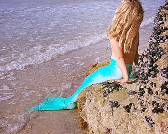 Swimming swimmable Mermaid Tail costume handmade in Cornwall.Kidswear for the beach pool. A gift or present for that special girl. Monofin