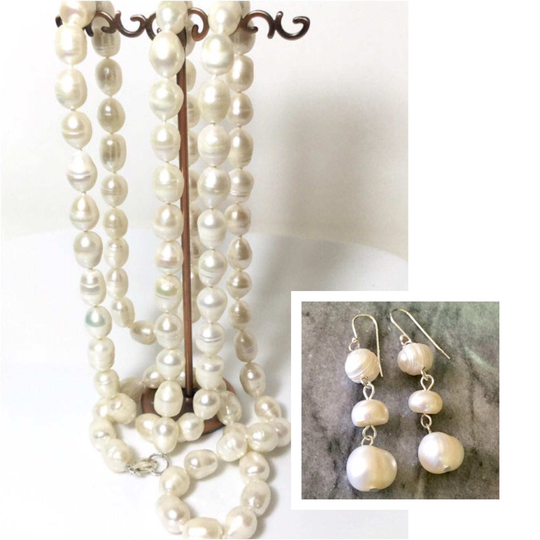 Large Pearl Necklace Sterling Silver Pearl Bead Necklace Natural Pearl  Knotted 47 Inches Long Pearl Earrings Genuine Freshwater