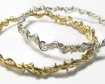 Stacking Bangles Set, Argentium Silver and Gold Bracelets, Gold and Silver Bangle Bracelets