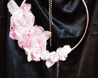 Shabby chic wall hanging hand made organza flowers