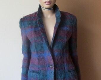 Vintage mohair jacket.Vintage wool jacket.Blue and purple mohair jacket.
