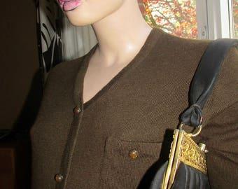 Vintage wool top.Brown 100% wool top.Woman vintage brown wool top.Vintage wool jersey made in Finland.