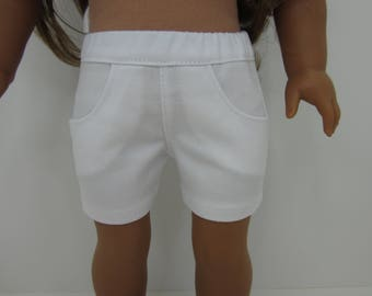 18 inch  doll clothes - White  4 pocket shorts.