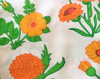 60s swedish vintage mod fabric. Orange and yellow floral pattern. Scandinavian design. Sewing. Quilting fabric floral fabric retro