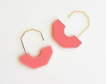 HEX ARCH EARRINGS | green earrings, arch earrings, minimalist, gold, modern, cream, statement earring, circle, hanging earring, pink  |