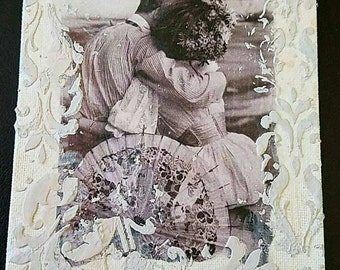 Vintage Couple Mixed Media Painting