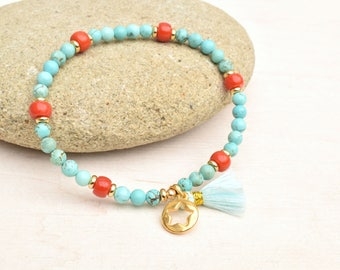 Turquoise bracelet, Red coral bracelet, Turquoise jewelry, Beaded bracelet, Coral jewelry, Tassel bracelet, Boho jewelry, Gift for her