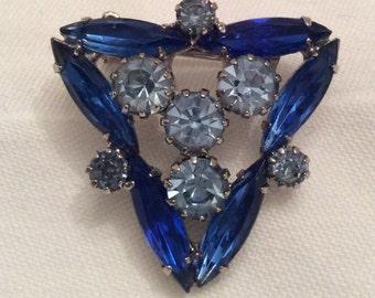 Blue Rhinestone Brooch, Vintage Brooch with Blue Rhinestones, Marquis and Round Rhinestones, Unusual and Rare Shape