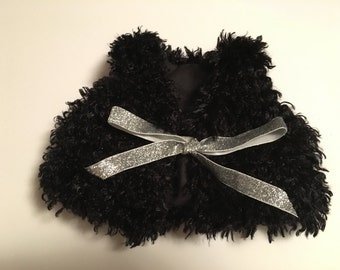 SALE! Black curly Faux fur vest, made to order- Baby/toddler
