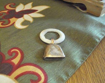 Antique Sterling Silver Teething Ring with Bell