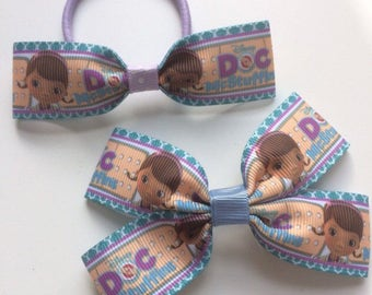 Doc McStuffins - print boutique bow and matching bobble