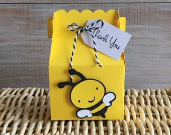 10 Bumble Bee Favor Boxes. Bee Birthday Party. Bee Baby Shower.