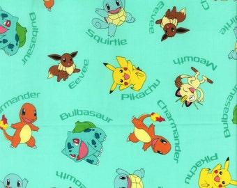 Pokemon Character Aqua 100% Cotton Fabric 1/2 yard
