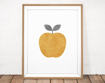 Kitchen Printable, Apple Printable, Apple Poster, Fruit Poster, Scandinavian Print, Gold Apple Print, Gold Nursery Art, Apple Illustration
