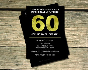 Black and Gold 60th Birthday Invitation - 5x7