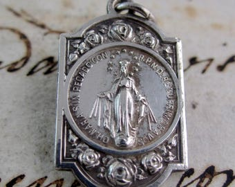 Gorgeous Our Lady of the Miraculous Medal - Vintage French Silver Plated Medal- Catholic Religious