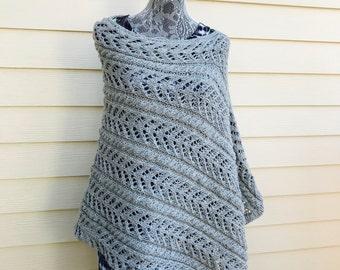 Boho Knitted Poncho - Grey Knit Poncho - Hand Knit Poncho - Womens Poncho - Bohemian Clothing - Spring Poncho - Mother's Day Gift