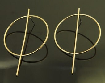 Geometric earring post, Nickel free, T30-G2, 2 pcs, 60x38mm, 1.5mm thick, 16K gold plated brass