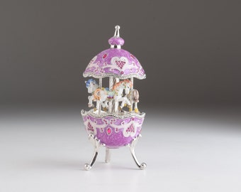 Purple Carousel Egg with White Royal Horses Spinning Music Box by Keren Kopal Faberge Styled  Swarovski Crystals