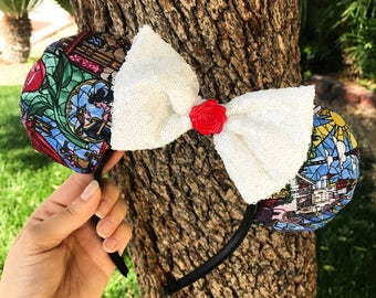 Beauty and The Beast stained glass Inspired Mickey ears