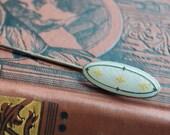 Antique sterling Enamel Fleur-de-Lis Stick Pin, Gold and White Enamel Pin, Gift for Her