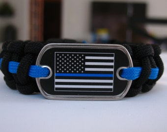 American Flag with Thin Blue Line Paracord Bracelet