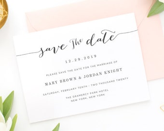Save the Date Template, Save the Date Printable PDF, Custom Save the Date Cards, Instant Download [S05]