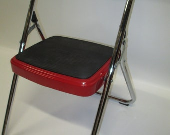 Vintage Folding COSCO Restored Single Step Stool Red Chrome : cosco red step stool - islam-shia.org