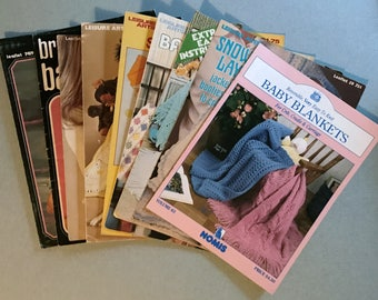 Lot of 9 Vintage Knit And Crochet Pattern Books For Babies 1973-1992