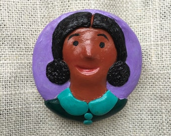 painted polymer clay brooch pin