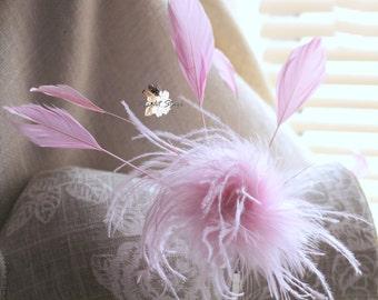 Pink headband - feather headband - feather headpiece - pink feather headband - feather fascinator - pink fascinator - girl's headband