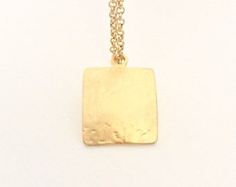 Hammered Square Pendant, 22K Gold on brass