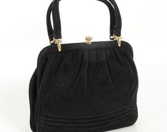 1950s Vintage small handbag black velvet evening bag