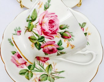 Teacup trio - Vintage Queen Anne fine bone china - teacup, saucer & plate - Rose patterned trio