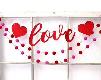 Valentine's Day, Valentine's Day Decor, Felt Ball Garland, Valentines Day Banner, Valentine Party, Valentines Day Pom Pom Garland