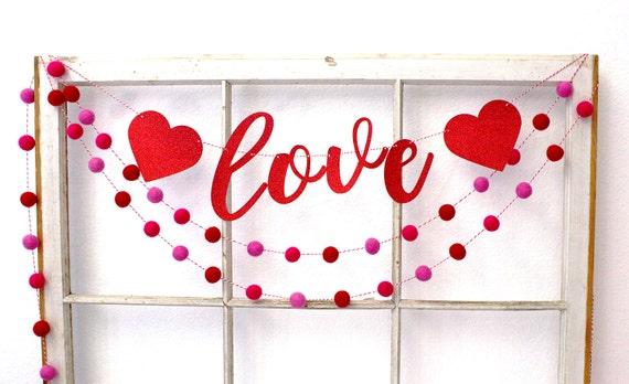 valentines day valentines day decor felt ball garland valentines day banner valentine - Valentines Day Decor