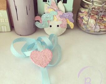 Unicorn Hair Clip holder -  bow holder - hair bow organiser - glitter fabric
